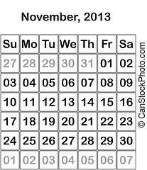 month November 2013 Calendar