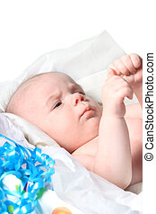 Month old baby as present in box - Young baby boy in a...