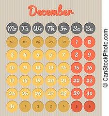Month planning calendar - December 2018