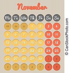 Month planning calendar - November 2018