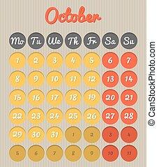 Month planning calendar - October 2018
