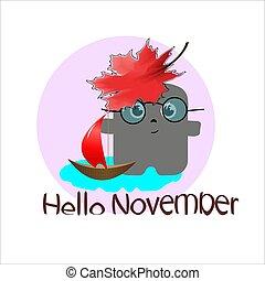 month., season., 面白い, ステッカー, 特徴, 漫画