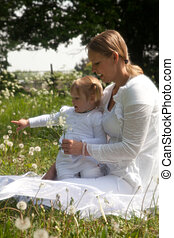 monther and child in the nature