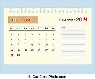 monthly., カレンダー, june., スケジュール
