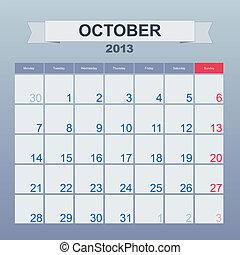 monthly., 10 月, カレンダー, 2013, スケジュール