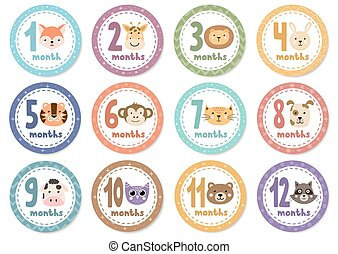 Monthly baby stickers with cute animals