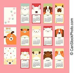 Monthly calendar 2018 with cute dog