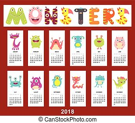 Monthly calendar 2018 with cute monsters