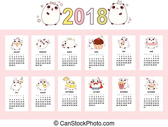 Monthly calendar 2018 with cute pandas