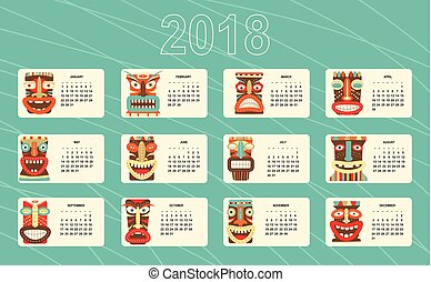 Monthly calendar 2018 with of tiki tribal mask