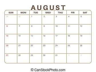Monthly Calendar August 2017