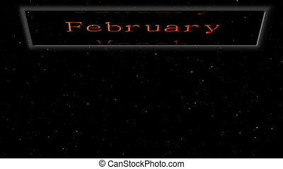 Monthly calendar floating in space