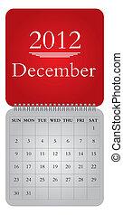 monthly calendar for 2012, December