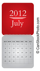 monthly calendar for 2012, July