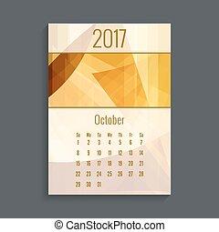 Monthly calendar for 2017. Planner. Template grid. Color orange. Week Starts Sunday. Months October