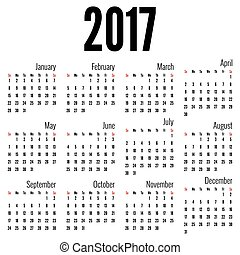 Monthly Calendar for 2017. Simple month grid template....