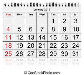 Monthly calendar - January 2015