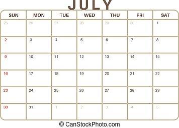 Cute july 2017 calendar for kids