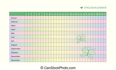 monthly menstruation calendar of menstrual cycle with butterfly