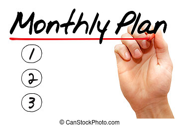 Hand writing monthly plan with marker, business concept
