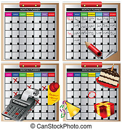 Monthly Planner Collection - Vector illustration of four...
