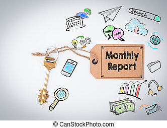 Monthly Report. Key on a white background