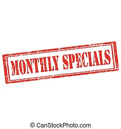 Monthly Specials-stamp - Grunge rubber stamp with text...