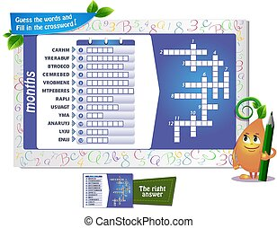months crossword game - educational game for kids and adults...
