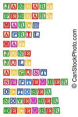 Months Formed by Alphabet Blocks