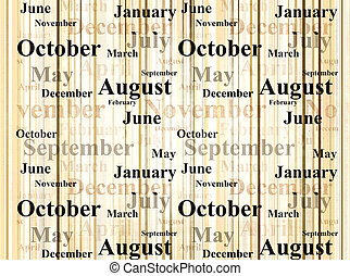 Grunge background with names of months