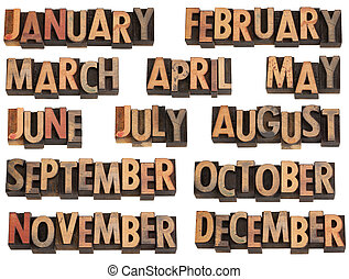 months in letterpress type - 12 months of the year from...