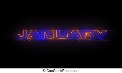 January - Neon Text animation - Months of the year - January...