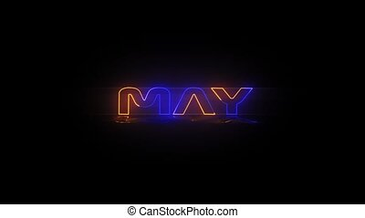 May - Neon Text animation - Months of the year - May - Neon...