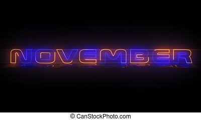 November - Neon Text animation - Months of the year -...