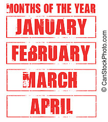months rubber stamp