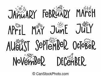Months of the New Year simple lettering. Calligraphy calendar card graphic design element. Hand written sign. Photo overlay agenda vector. December January February March April May June July August
