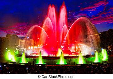montjuic, фонтан, известный, barcelona.