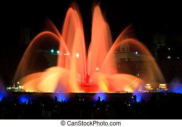 montjuic, 噴水, バルセロナ, 有名