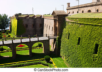 montjuic, barcelona, de, castillo, espanha