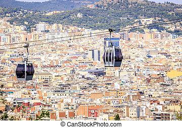montjuic, cablegrafíe coche, barcelona, colina, españa