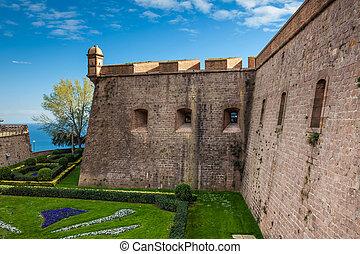 Montjuic Castle in Barcelona Spain