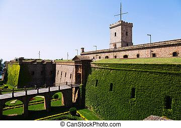 Montjuic Castle in summer. Barcelona, Catalonia
