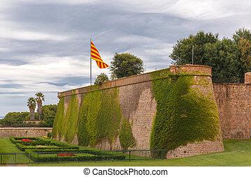 montjuic, colina, en, barcelona, cataluña, españa