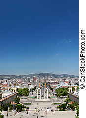 Montjuic columns and fountain on Plaza de Espana