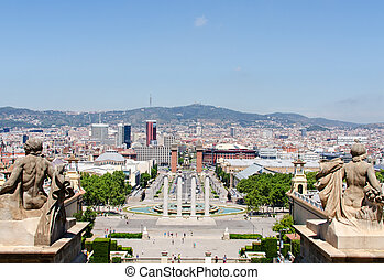 Montjuic fountain on Plaza de Espana in Barcelona Spain