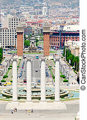 Montjuic fountain on Plaza de Espana