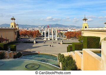 Montjuic fountain on Plaza de Espanya in Barcelona, Spain