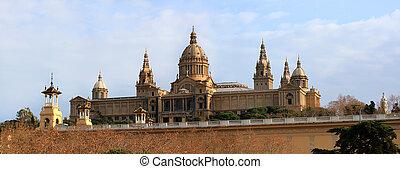 montjuic, localizado, área, museu, nação, catalynia, barcelona, espanha