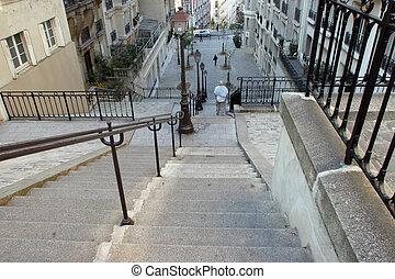 montmartre, parís, escaleras