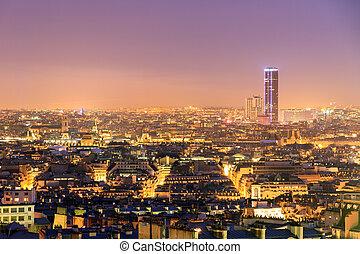 Montparnasse night skyline